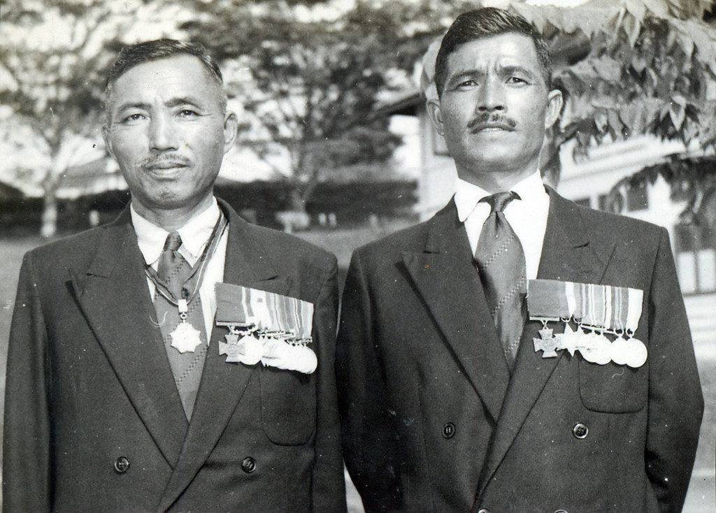 Gurkha heroes: Lalbahadur Thapa VC, left, and Bhanbhagta Gurung VC at a post-war reunion
