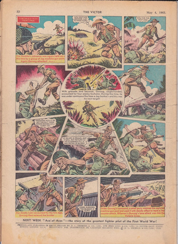 Comic-strip valour: The Victor comic's portrayal of Bhanbhagta Gurung's heroism on Snowdon East in March 1945.