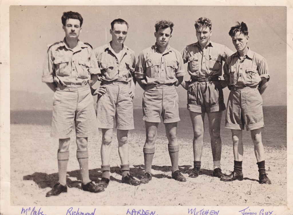 Survivors: the crew of O for Oboe who made it back alive, l to r, Tom McCabe, 'Rich' Richmond, Allan Larden, 'Mitch' Mitchem and 'Jimmy' Guy.