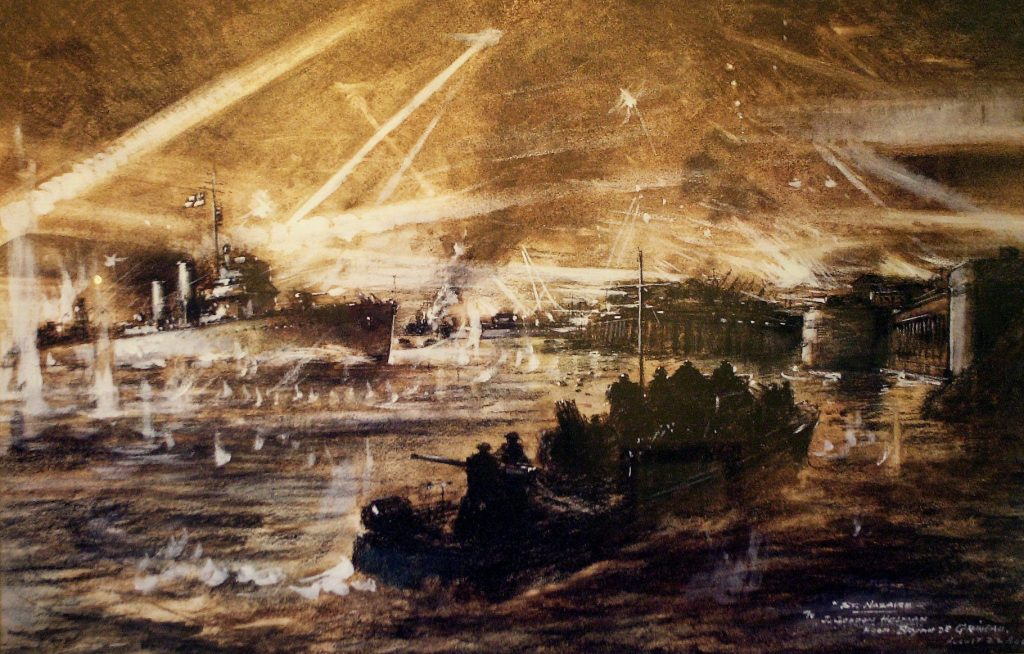Artist's impression of Campbeltown's charge towards the Normandie dock